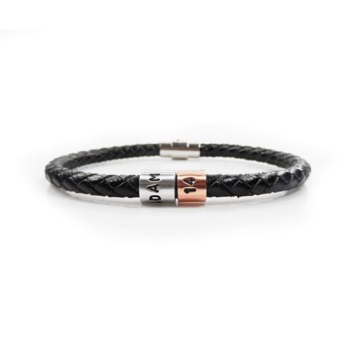 Personalised 14th Birthday Leather Bracelet – Gift Boxed – Free Delivery